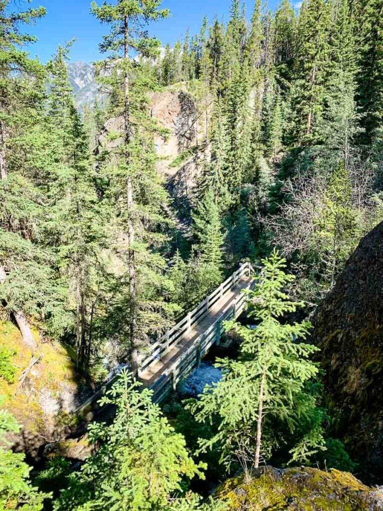 Looking down on bridge in Sundance Canyon Banff