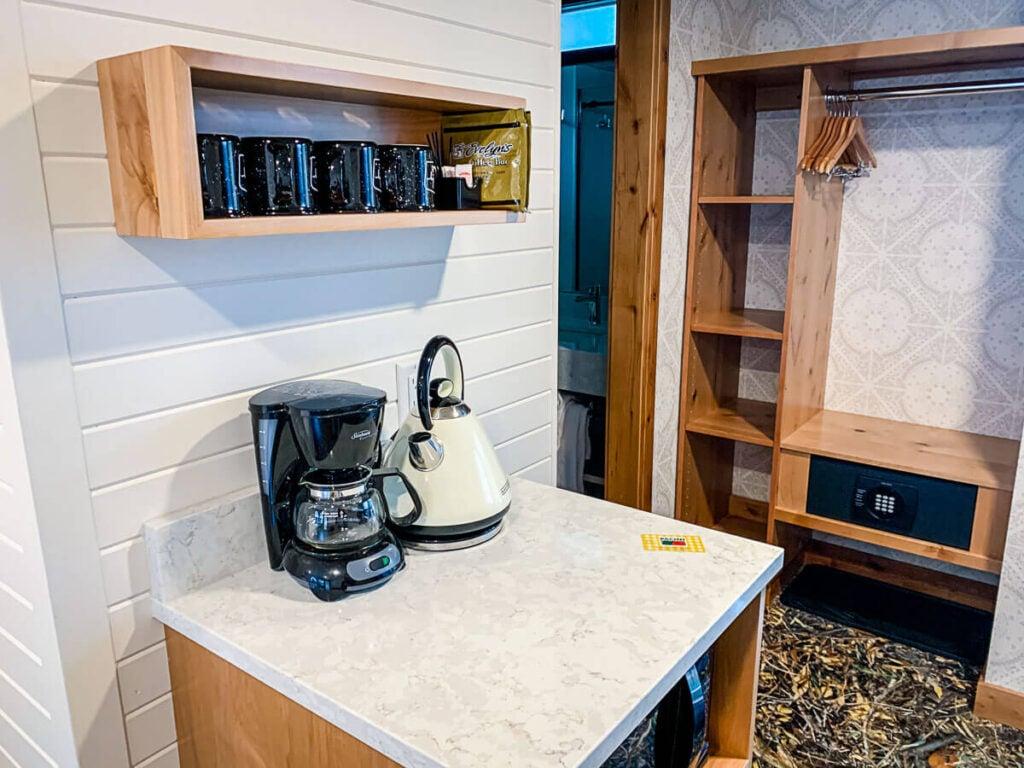 Storage and coffee station at Dorothy Motel - motels in banff alberta