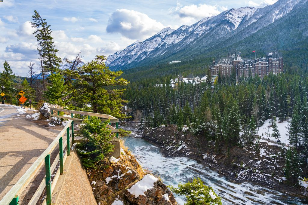 A Banff tour often stops at Surprise Corner, to get the best view of the Fairmont Banff Springs Hotel