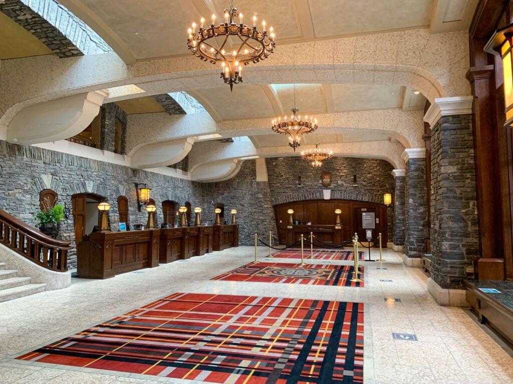 The elegant lobby of the Banff Springs Hotel, Canada