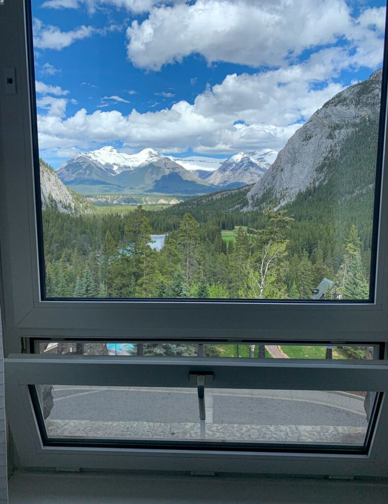 One of the best reasons to stay at the Banff Springs Hotel is the windows that open, allowing fresh Banff National Park air to permeate the hotel room