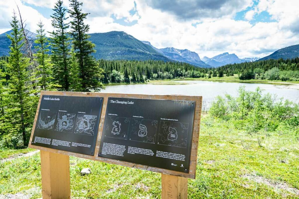 mountain views from start of Middle Lake hiking Trail in Bow Valley Provincial Park