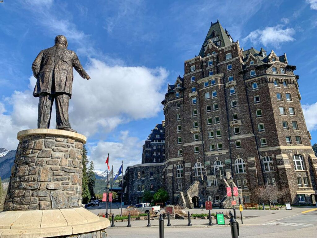 A statue of William Van Horne stands prominently in the Banff Springs Hotel