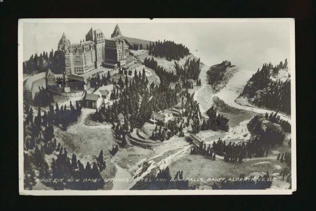 A birds eye image of the Banff Springs Hotel from 1937
