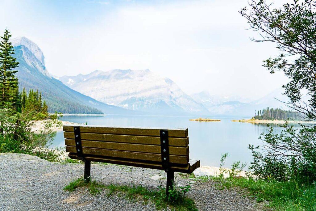 A bench overlooking Upper Kananaskis Lake