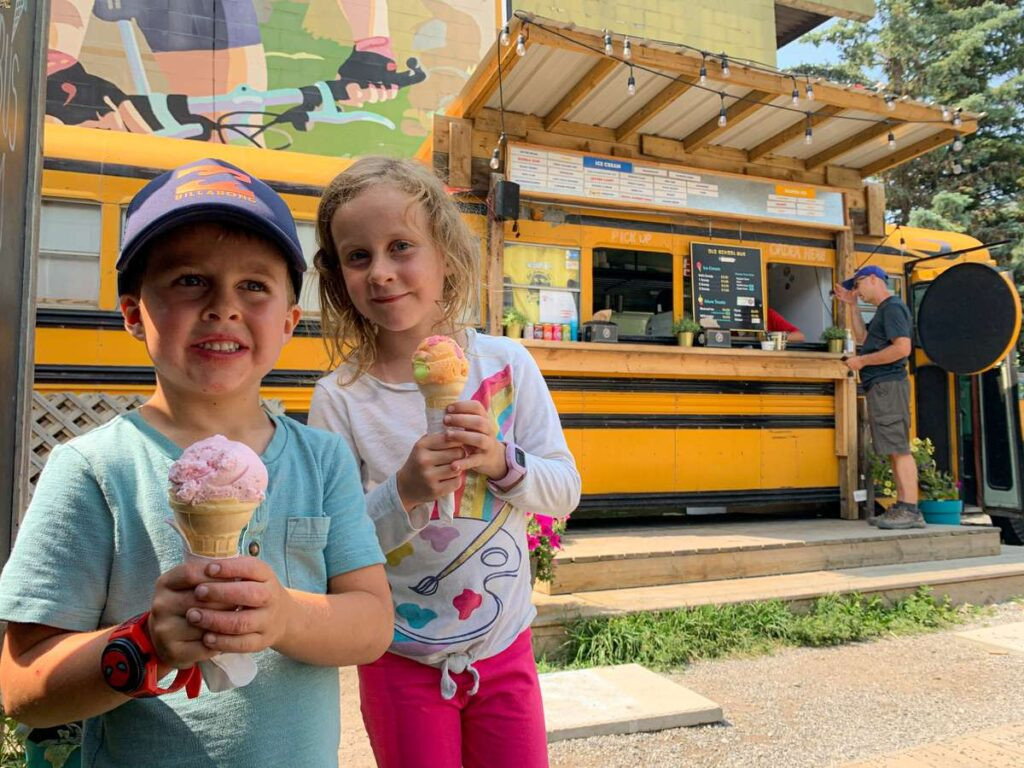 Kids think the Old School Bus has the best ice cream in Canmore