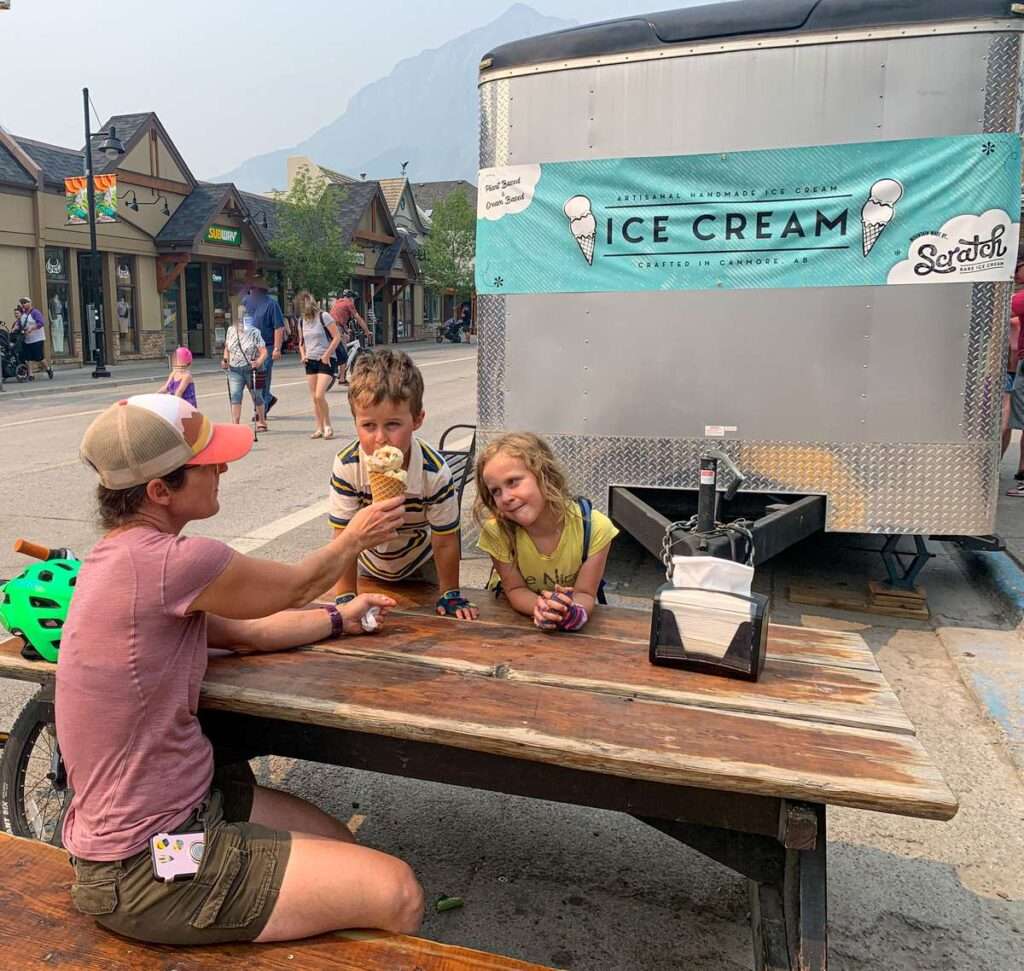 A family enjoys Scratch Rare Ice Cream at the best place in Canmore for Ice Cream