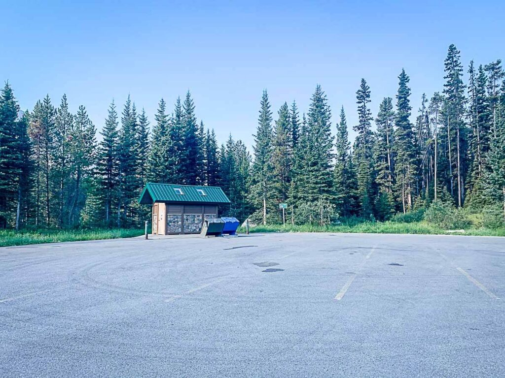 parking lot and toilets at Boom Lake Day Use - Banff National Park