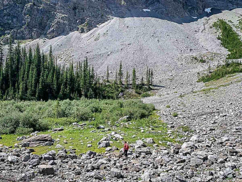 Arriving at boulder field in C Level Cirque hike Banff