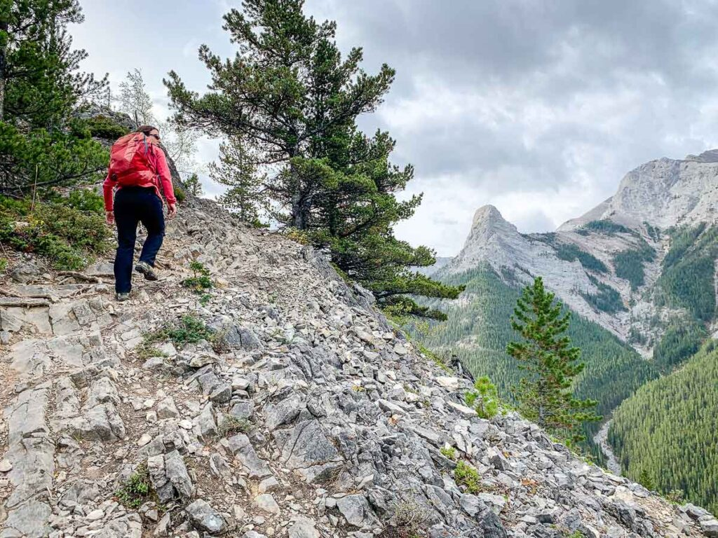 Hiking Wasootch Ridge trail Kananaskis
