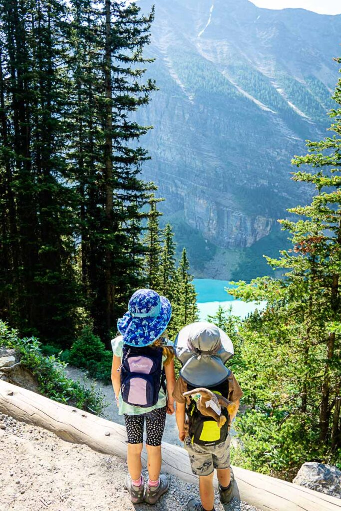 Views on lake louise hikes with kids