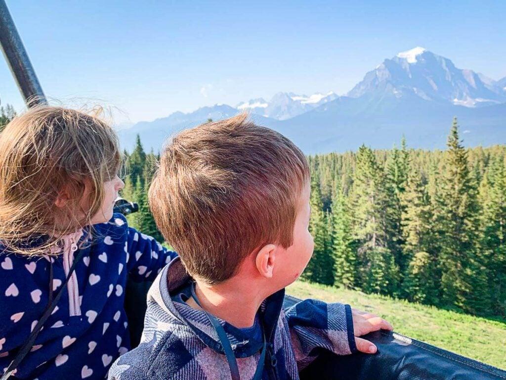 Kids on Lake Louise Gondola - best Lake Louise attractions