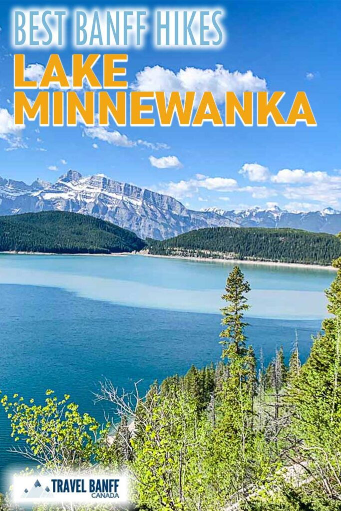 Lake Minnewanka trail is one of the best Banff hikes. Make sure to leave time to hike along the Lake Minnewanka lakeshore when you visit. The mountain and lake scenery is incredible.