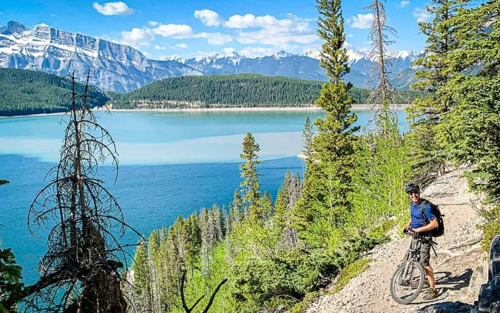 hiking or mountain biking lake minnewanka banff