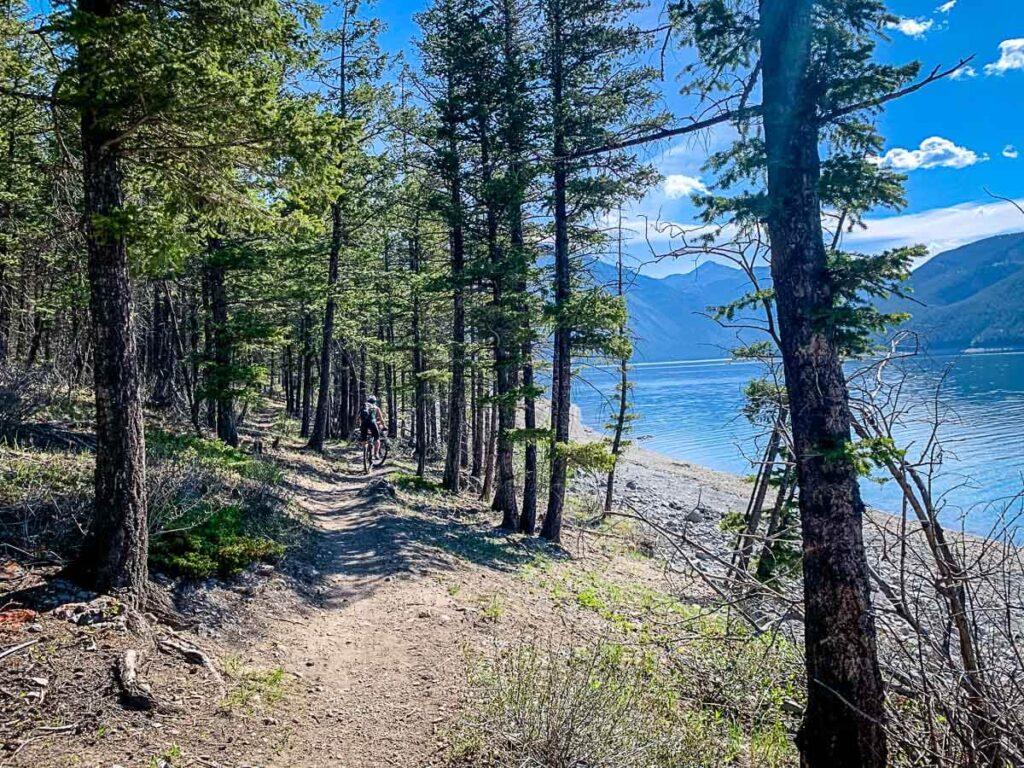 Lake Minnewanka trail for hiking or biking