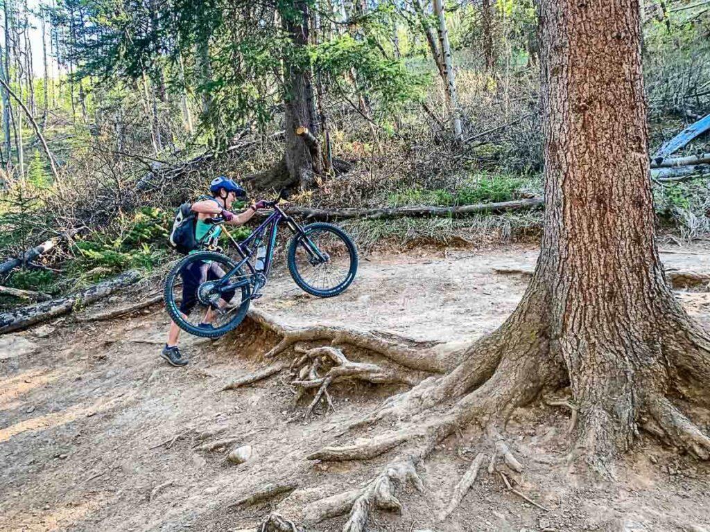 Mountain Biking on Lake Minnewanka trail