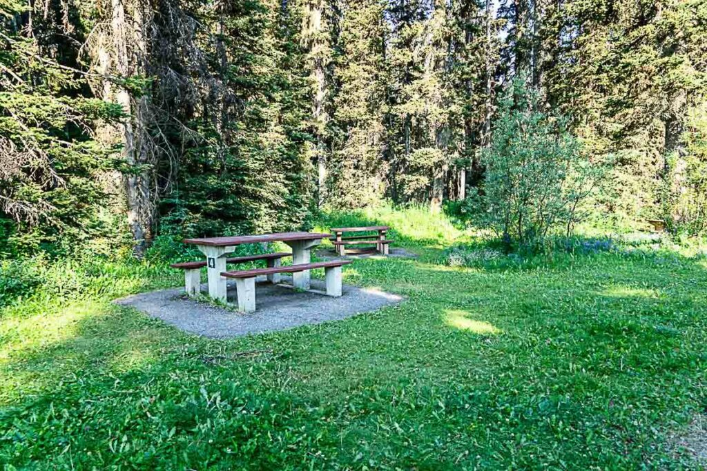 Picnic table in Boom Lake Day Use area