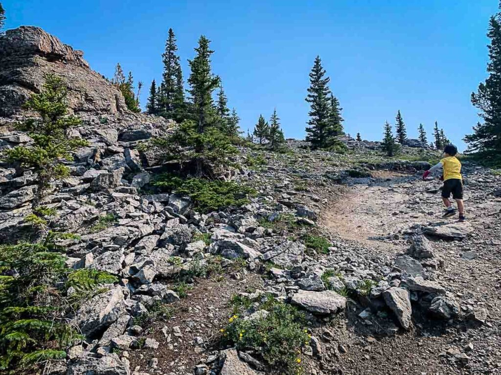 Boy hiking up rocky section on West Wind Pass trail in Kananaskis
