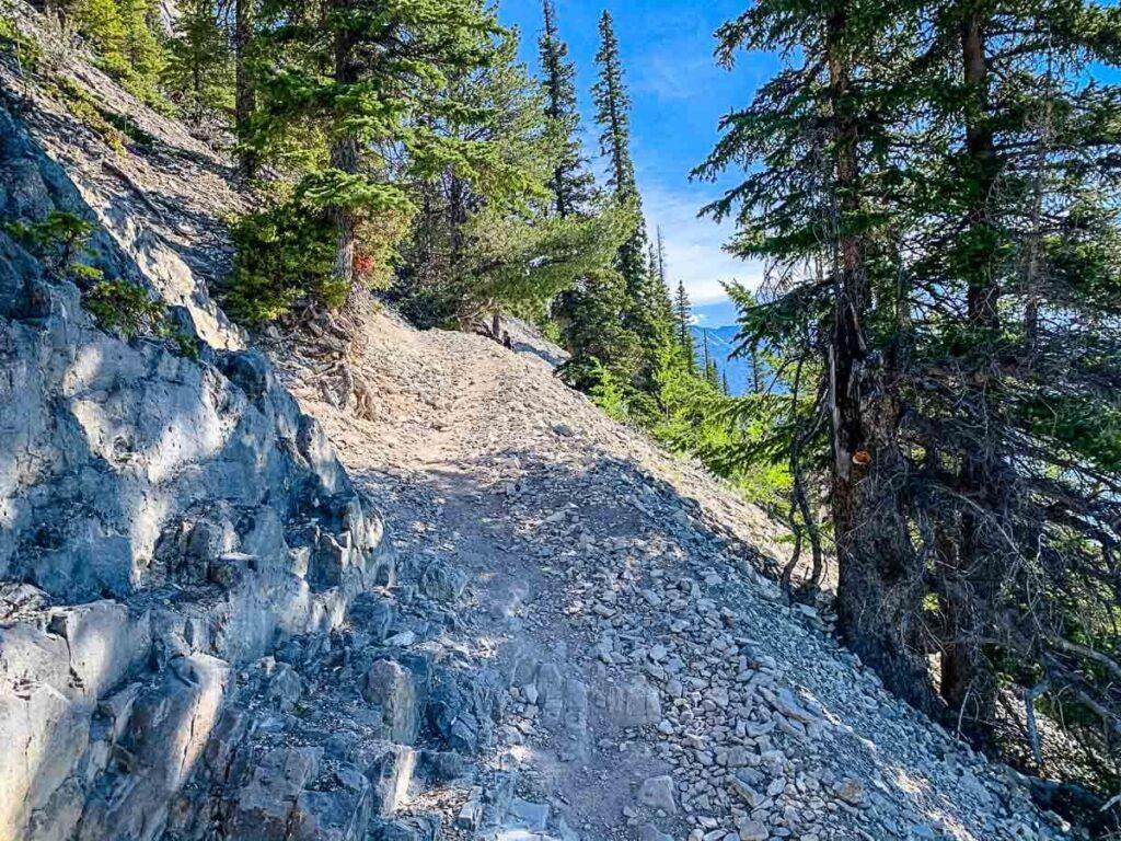 Rock shale section of Lake Minnewanka hiking trail