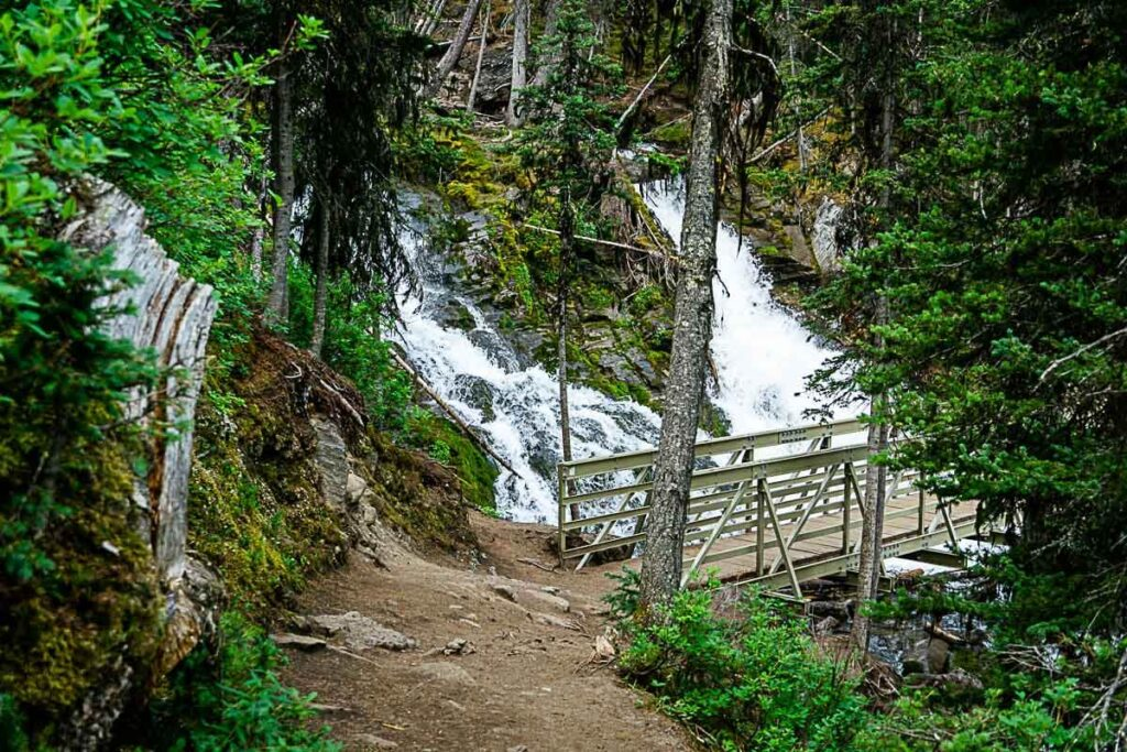 Bridge over Sarrail Creek Falls along Upper Kananaskis Lake Trail