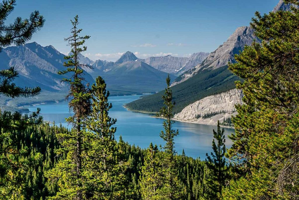 View of Spray Lakes Reservoir from West Wind Pass hiking trail