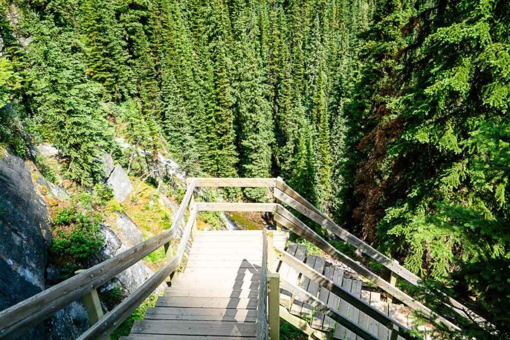 stairs along tea house lake louise hike