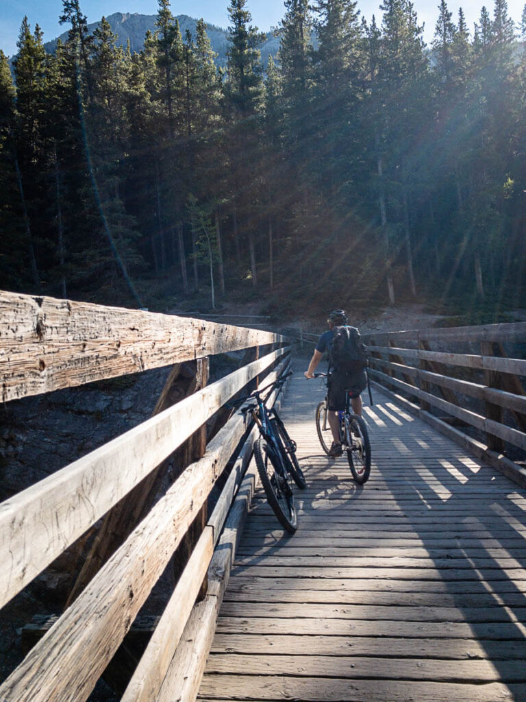 Crossing Stewart Canyon Bridge at Lake Minnewanka