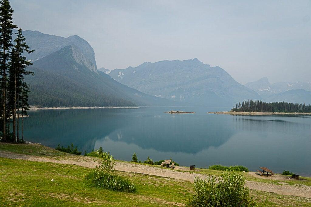 Upper Kananaskis Lake with picnic area
