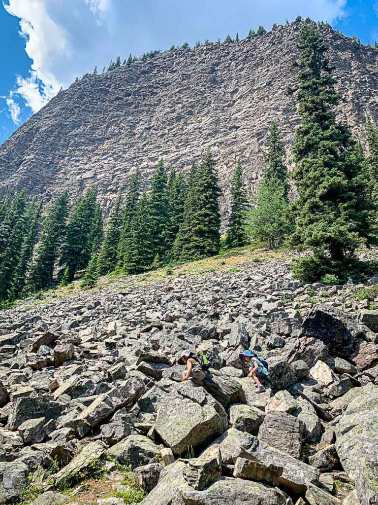 boulder field and Big Beehive on Lake Agnes Hike