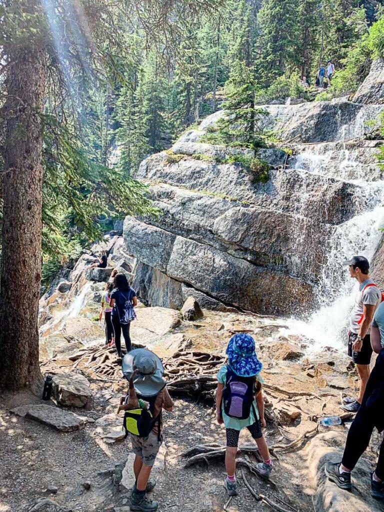 waterfall along lake agnes hike