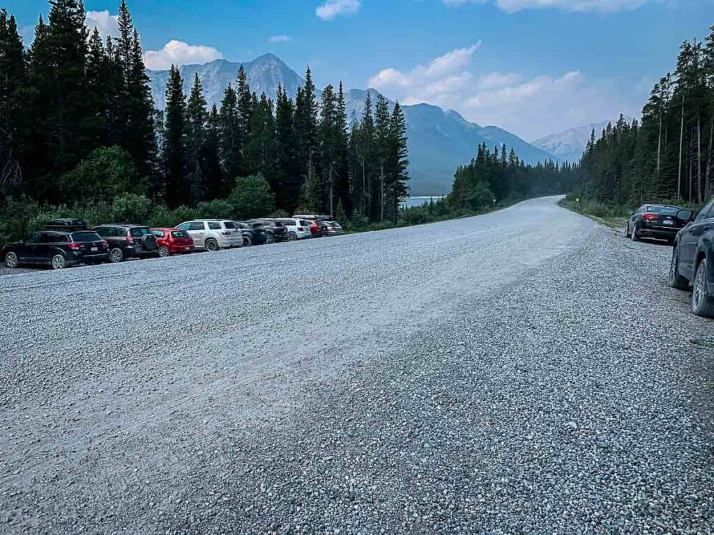 parking for West Wind Pass hike in Kananaskis