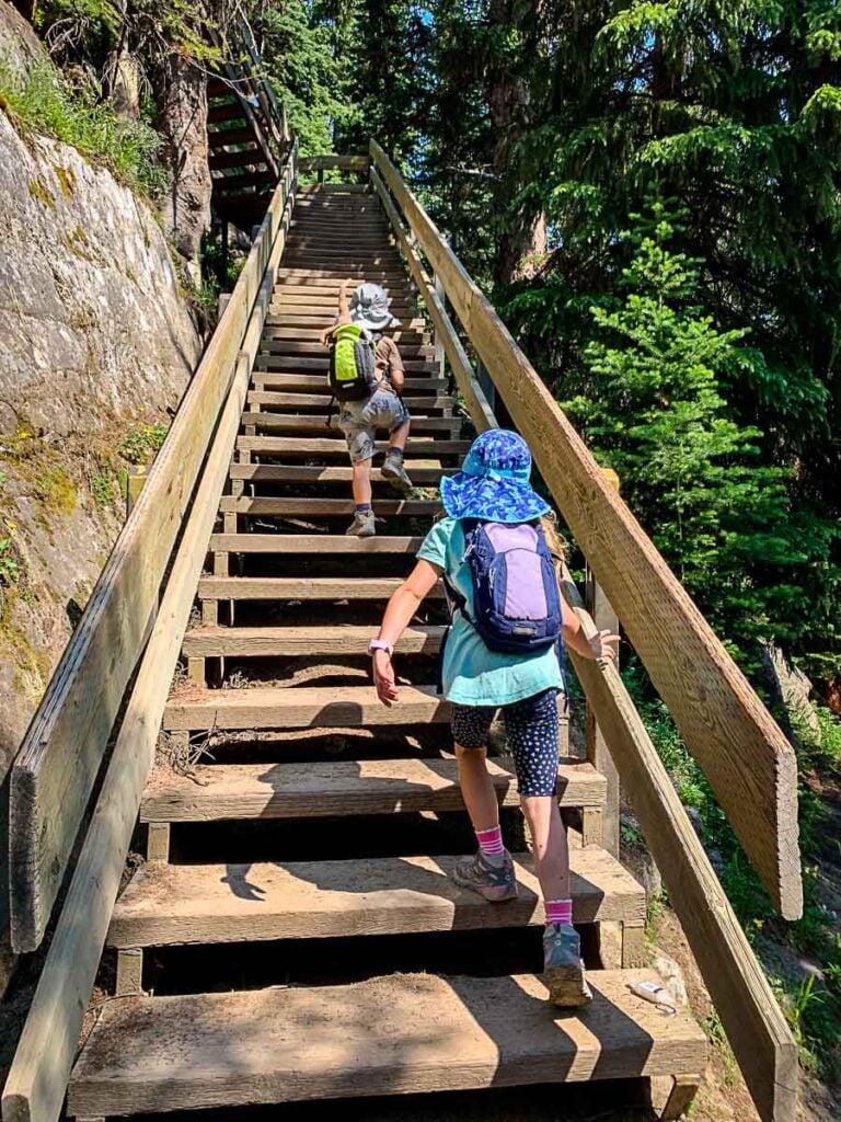 stairs on Lake Agnes tea house hike