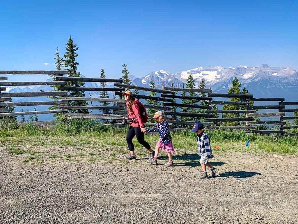 hiking with kids at Lake Louise Gondola