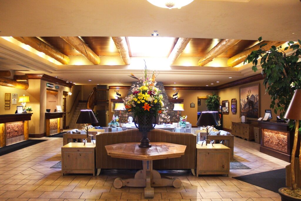 the Banff Caribou Lodge on Banff Avenue is one of the best hotels in banff with a private hot tub