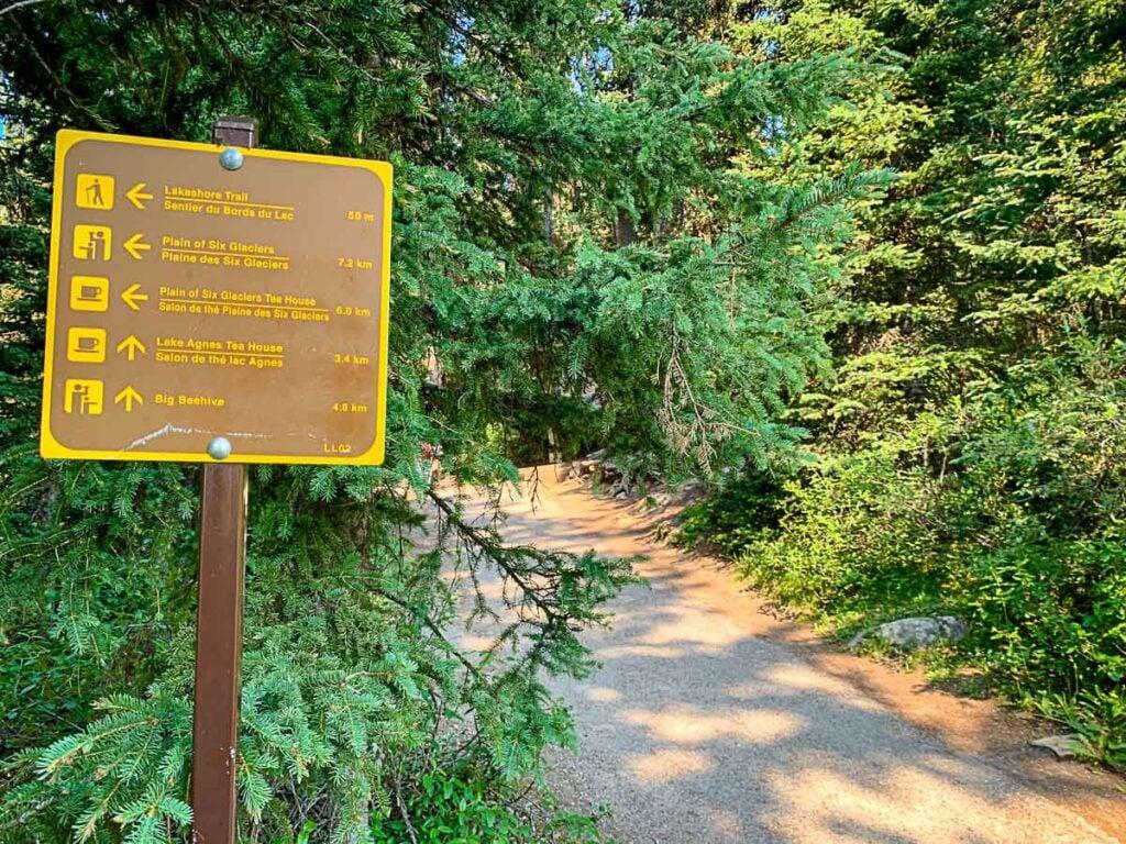 trail marker along lake louise tea house trail