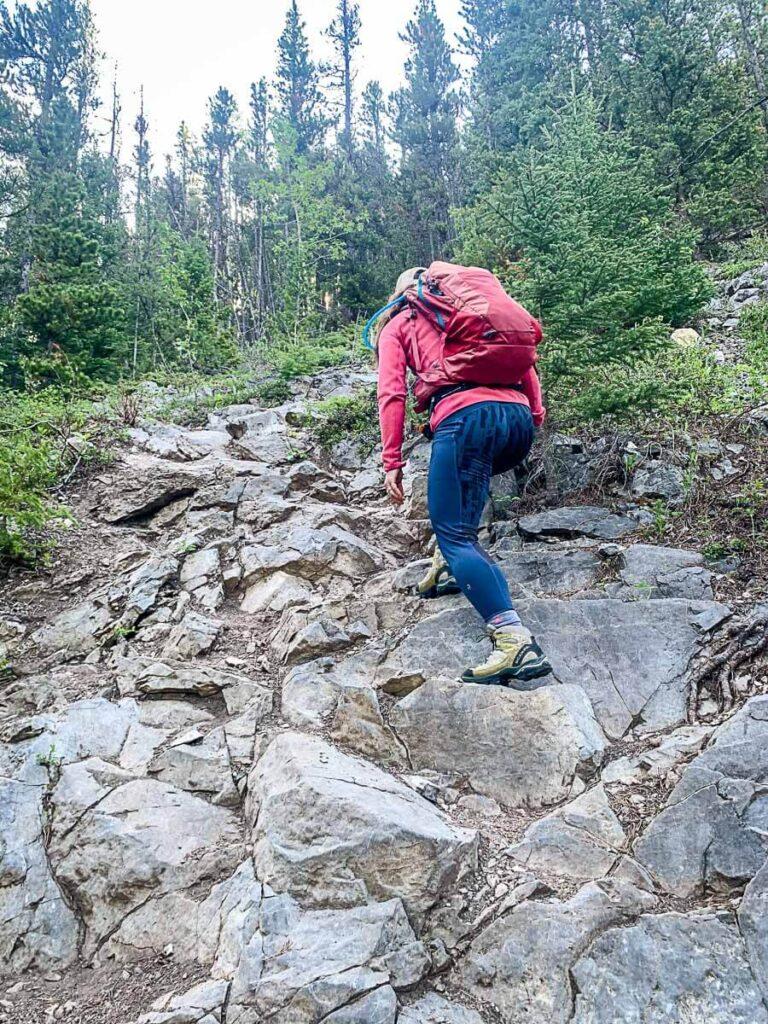 climbing to Wasootch Ridge Kananaskis