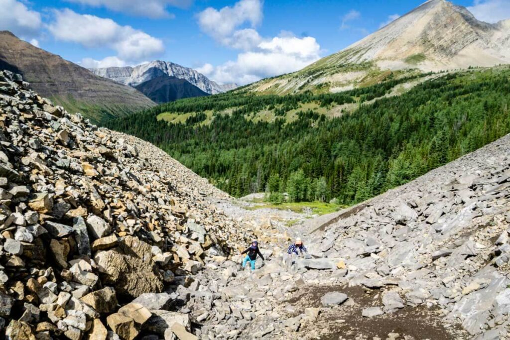 The rock piles are one reason the Arethusa Cirque Trail is a great activity for kids in Kananaskis Country