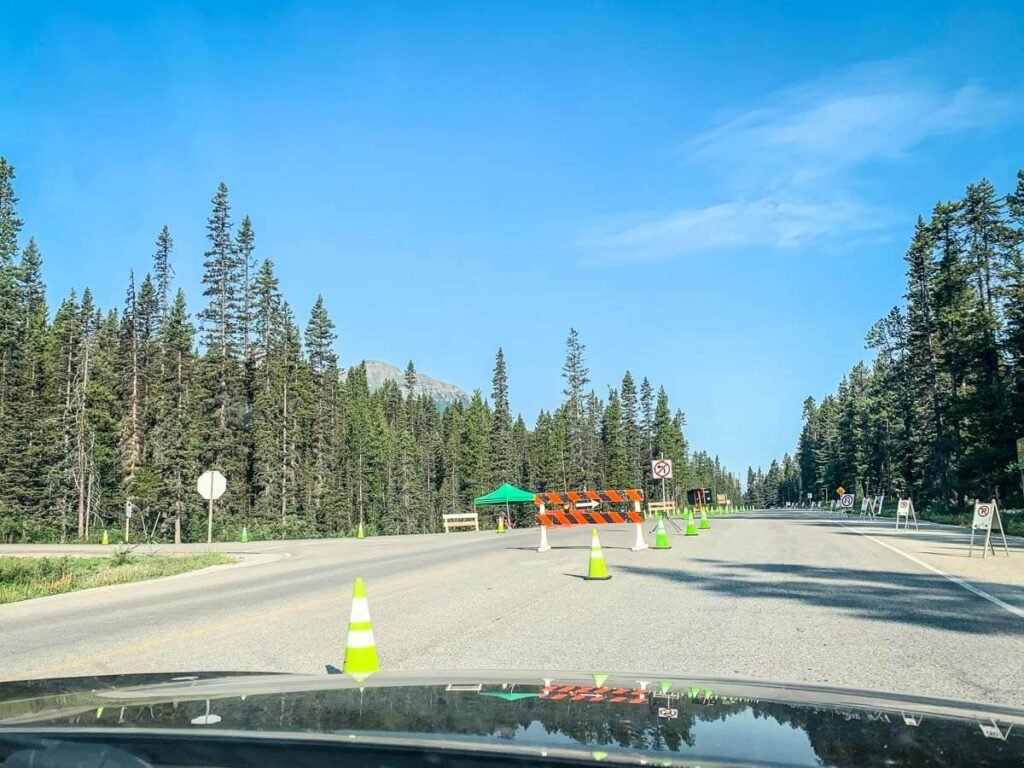 Barriers to Moraine Lake Road when closed