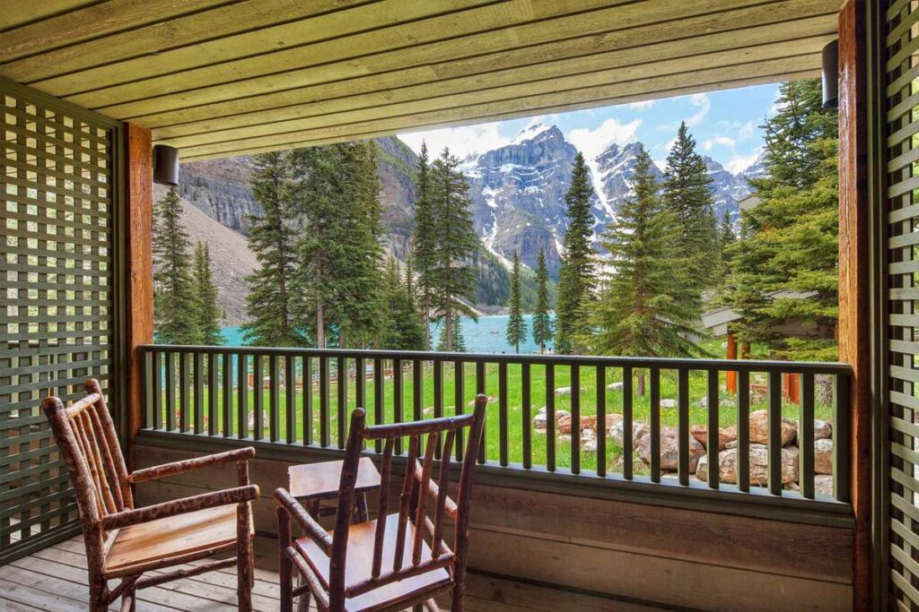 The balcony from a room at the Moraine Lake Lodge offers views of the Valley of the Ten Peaks making it one of the best hotels near Lake Louise