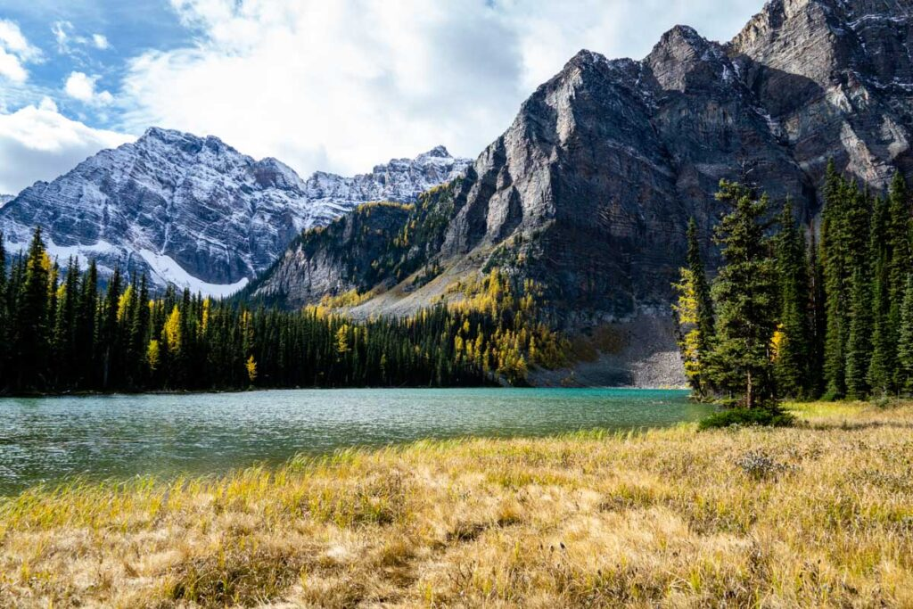 The beautiful scenery around Banff's Upper Twin Lake includes Storm Mountain and golden larch trees in fall