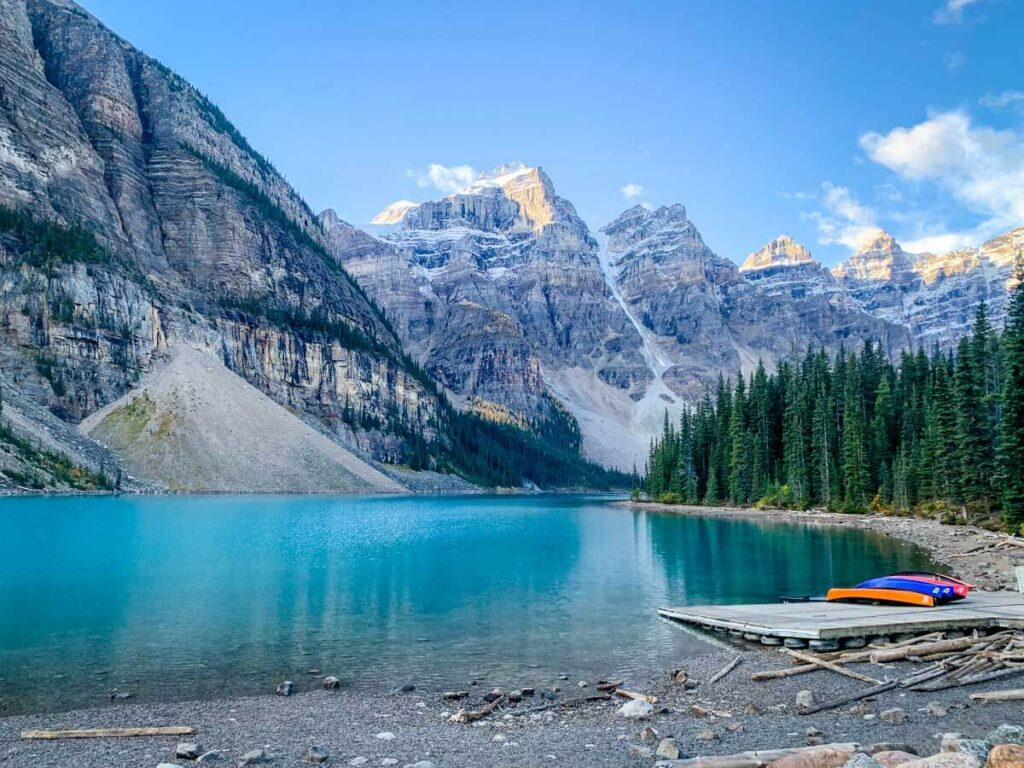 Moraine Lake in early morning on the way to Sentinel Pass Larch Valley