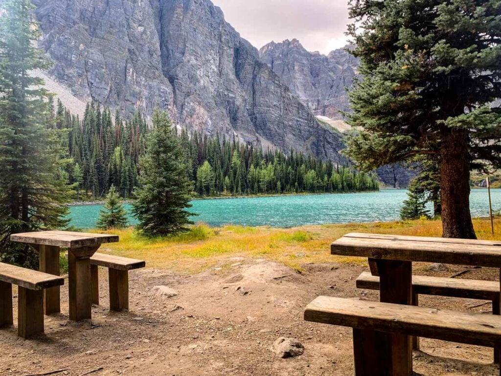 Picnic tables at Taylor Lake campground