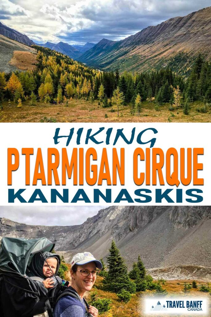 Ptarmigan Cirque in Kananaskis is one of the best larch hikes. Ptarmigan Cirque is an easy hike that offers incredible scenery especially of the golden larches in the fall.