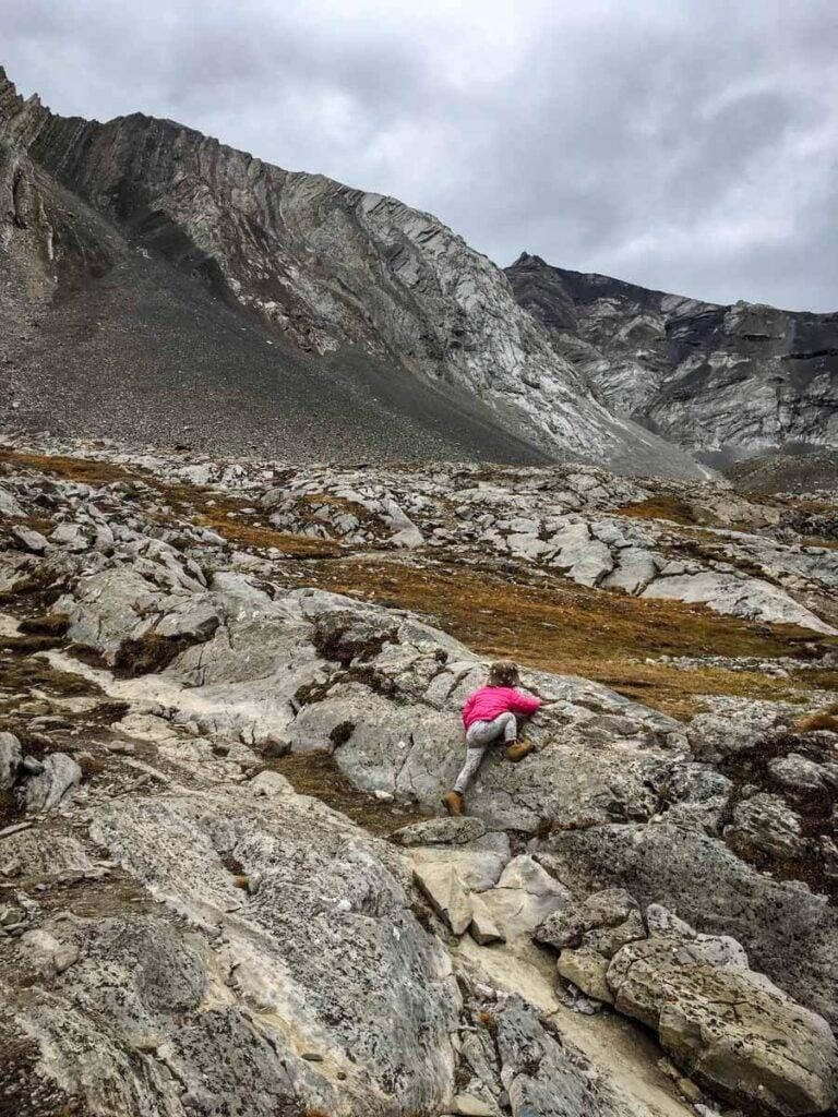 toddler climbing rocks on Ptarmigan Cirque Kananaskis (hikes with toddlers)