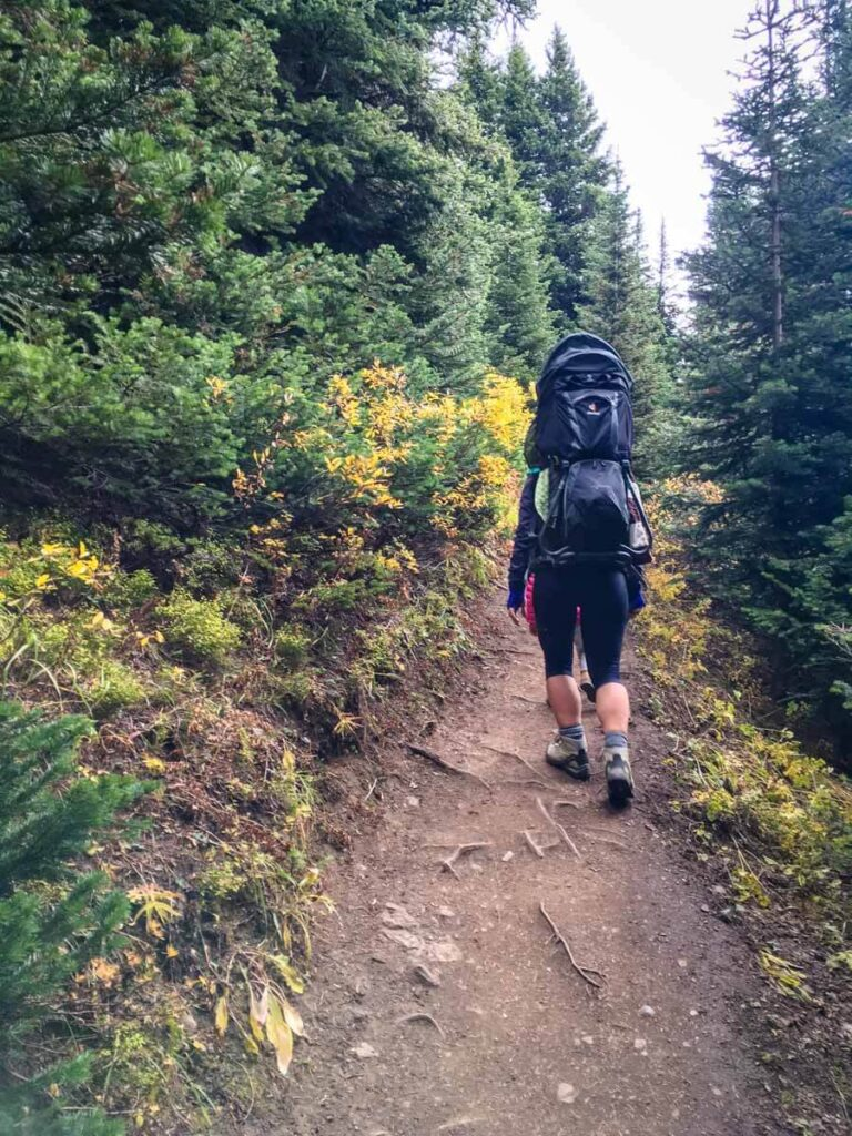 Mother hiking while carrying baby on Ptarmigan Cirque hiking trail - one of the best larch hikes in Kananaskis