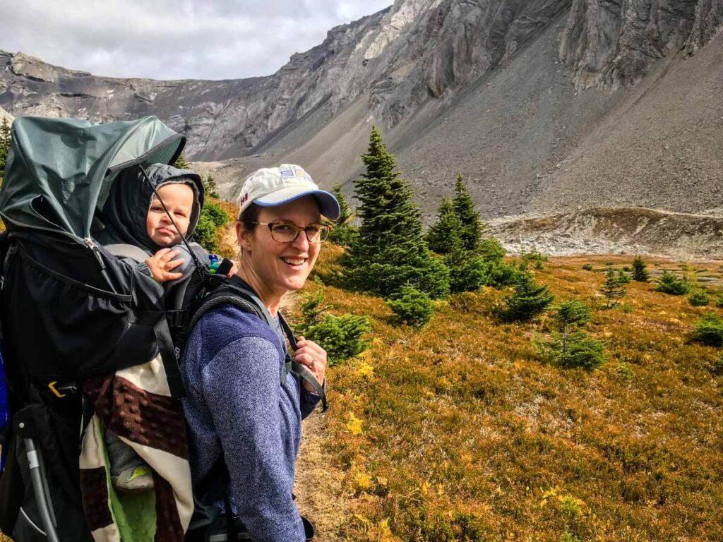 Hiking Ptarmigan Cirque with a baby