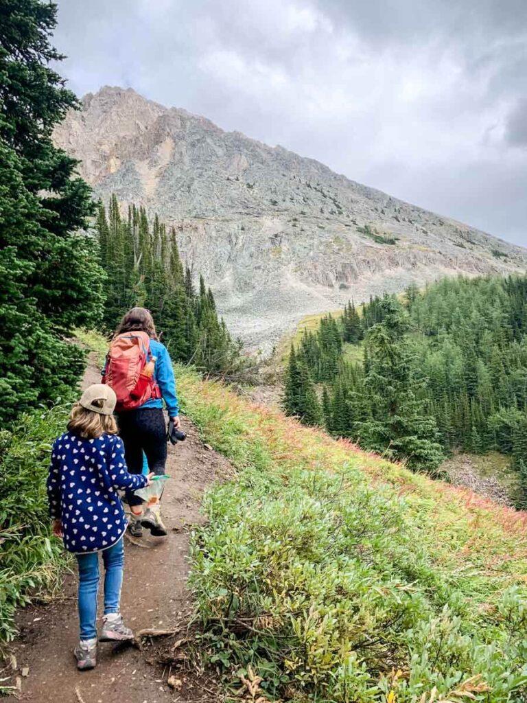 mother and daughter hiking kid friendly Kananaskis hike - Ptarmigan Cirque