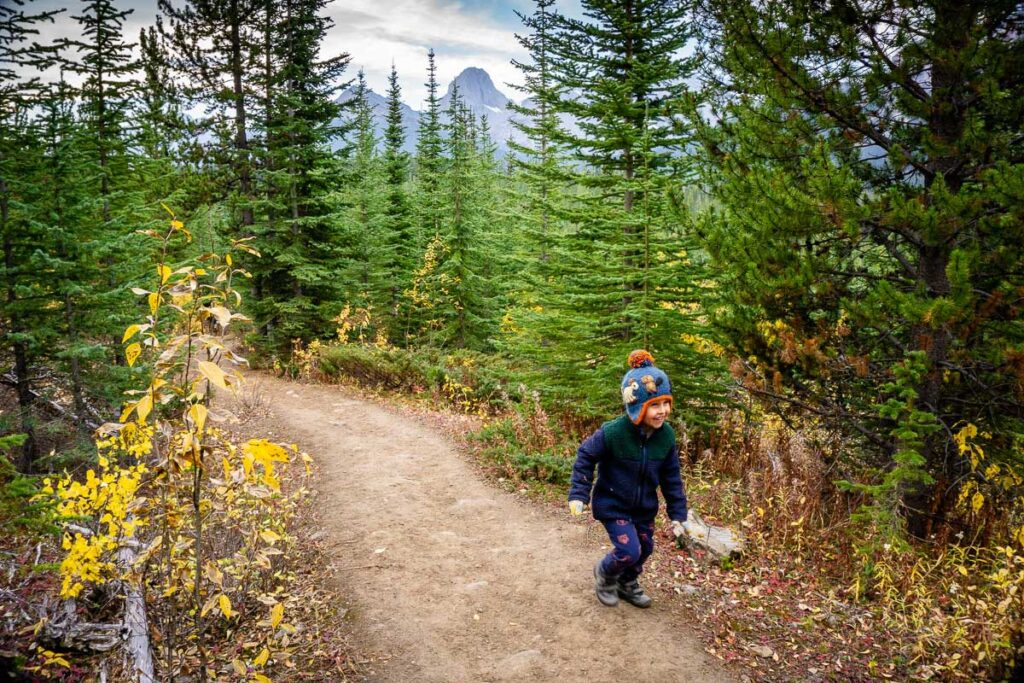 boy hiking on Rummel Lake trail in October