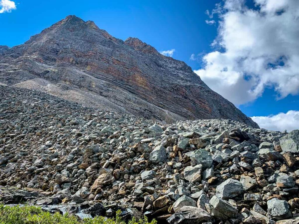 A rock pile at the base of Storm Mountain in Kananaskis Country