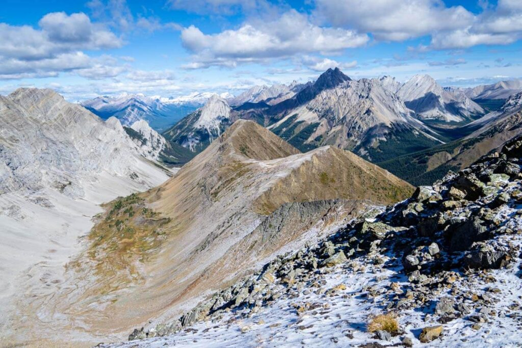The incredible view of Kananaskis mountains looking north from the Pocaterra Ridge Summit trail